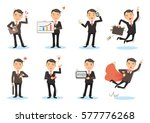 Business Man Working Poses. Ma...