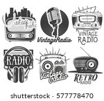 set of radio and music labels... | Shutterstock . vector #577778470