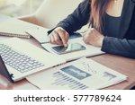 close up of woman hands using... | Shutterstock . vector #577789624