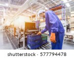 abstract blur people in factory ... | Shutterstock . vector #577794478