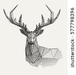 vector low poly line art.... | Shutterstock .eps vector #577798396