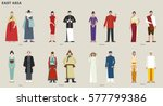traditional costumes by country ... | Shutterstock .eps vector #577799386