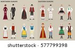 traditional costumes by country ... | Shutterstock .eps vector #577799398