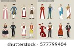 traditional costumes by country ... | Shutterstock .eps vector #577799404