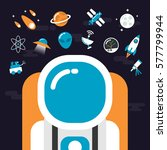 set of astronomy and flat icon   Shutterstock .eps vector #577799944