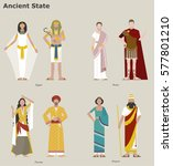 traditional costumes by country ... | Shutterstock .eps vector #577801210