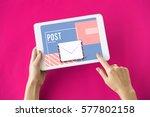 mail postal communication... | Shutterstock . vector #577802158