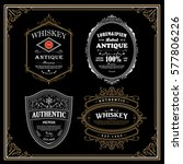 set antique frame whiskey label ... | Shutterstock .eps vector #577806226