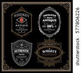 set antique frame whiskey label ... | Shutterstock .eps vector #577806226