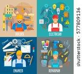 builder  electrician  engineer... | Shutterstock .eps vector #577809136