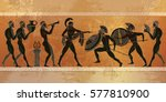 ancient greece scene. black... | Shutterstock .eps vector #577810900