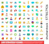 100 strategy icons set in... | Shutterstock .eps vector #577817926