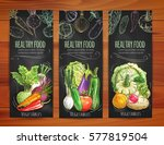 vegetables banners set.... | Shutterstock .eps vector #577819504