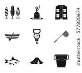 Catch Fish Icons Set. Simple...