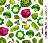 seamless pattern of cabbage... | Shutterstock .eps vector #577820944
