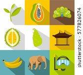 country sri lanka icons set.... | Shutterstock . vector #577826074