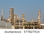 oil refineries in the blue sky... | Shutterstock . vector #577827514