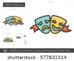 theater masks vector line icon... | Shutterstock .eps vector #577832314
