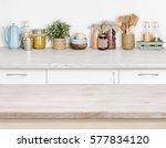 wooden kitchen table over... | Shutterstock . vector #577834120