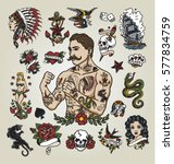 Tattoo Flash Set. Isolated...