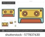 retro cassette vector line icon ... | Shutterstock .eps vector #577837630