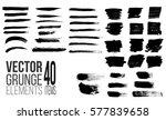 set of black paint  ink brush... | Shutterstock .eps vector #577839658
