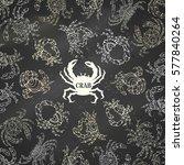 chalk ornate crabs background.... | Shutterstock .eps vector #577840264