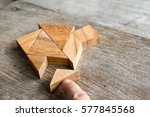 wooden tangram puzzle wait to... | Shutterstock . vector #577845568