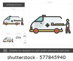 ambulance vector line icon... | Shutterstock .eps vector #577845940