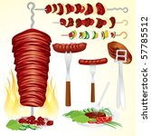 grilled bbq meat set  6  vector ... | Shutterstock .eps vector #57785512