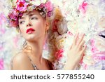 beautiful romantic young woman... | Shutterstock . vector #577855240