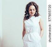 white dress beautiful girl. | Shutterstock . vector #577855720
