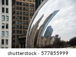 chicago buildings reflection in ... | Shutterstock . vector #577855999