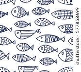 Blue Fish. Vector Seamless...