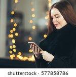beautiful woman young model in... | Shutterstock . vector #577858786