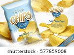 potato chips ad sea salt flavor ... | Shutterstock .eps vector #577859008