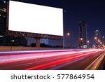 blank billboard on light trails ... | Shutterstock . vector #577864954