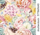 gentle watercolor floral... | Shutterstock . vector #577869640