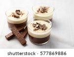 no bake layered chocolate... | Shutterstock . vector #577869886