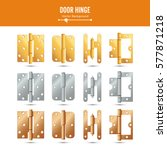 Door Hinge Vector. Set Classic...