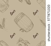 hand drawn sketch beer seamless ... | Shutterstock .eps vector #577871320