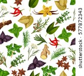 spice and herb seamless pattern ... | Shutterstock .eps vector #577872343
