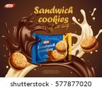 sandwich cookies ads  milk... | Shutterstock .eps vector #577877020