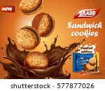 sandwich chocolate cookies ad ... | Shutterstock .eps vector #577877026