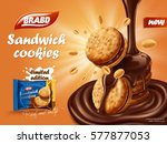 sandwich chocolate cookies ad ... | Shutterstock .eps vector #577877053