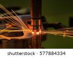 spot machine is welding nut to... | Shutterstock . vector #577884334