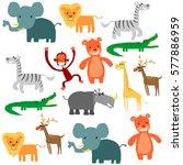 cute animal pattern | Shutterstock .eps vector #577886959
