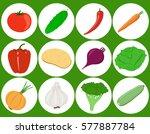 vegetables. set of flat icons... | Shutterstock .eps vector #577887784