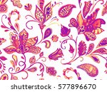 hand drawn flower seamless... | Shutterstock . vector #577896670