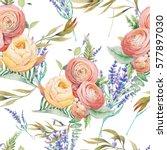 watercolor flowers seamless... | Shutterstock . vector #577897030